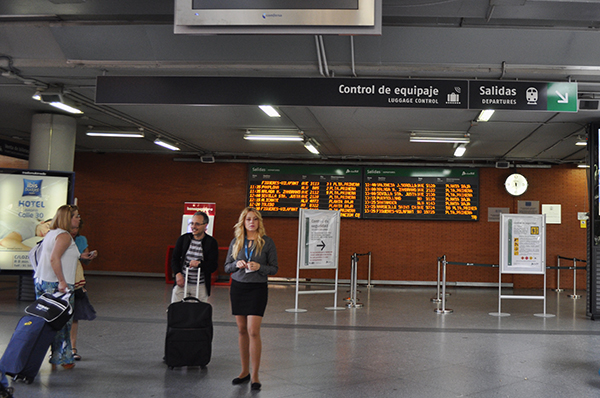 Madrid Atocha Station signage to departure tracks
